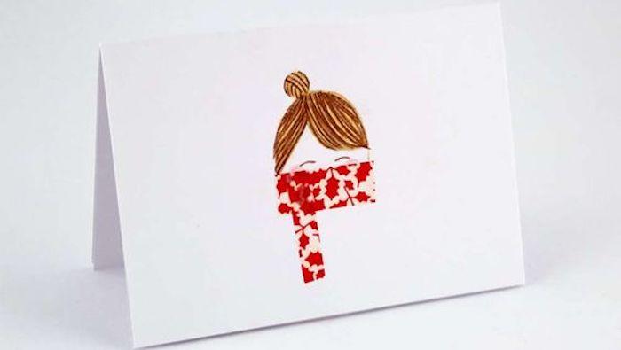 dessin diy carte de voeux femme
