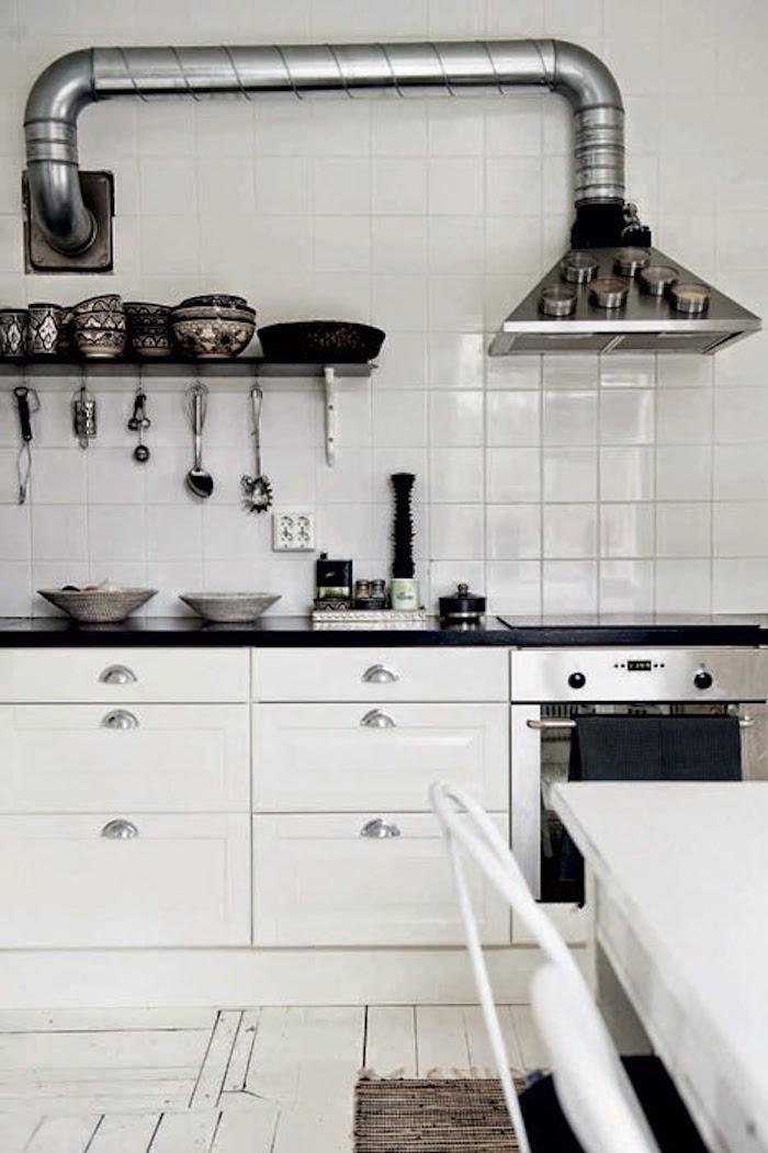 maison noir et blanc cuisine