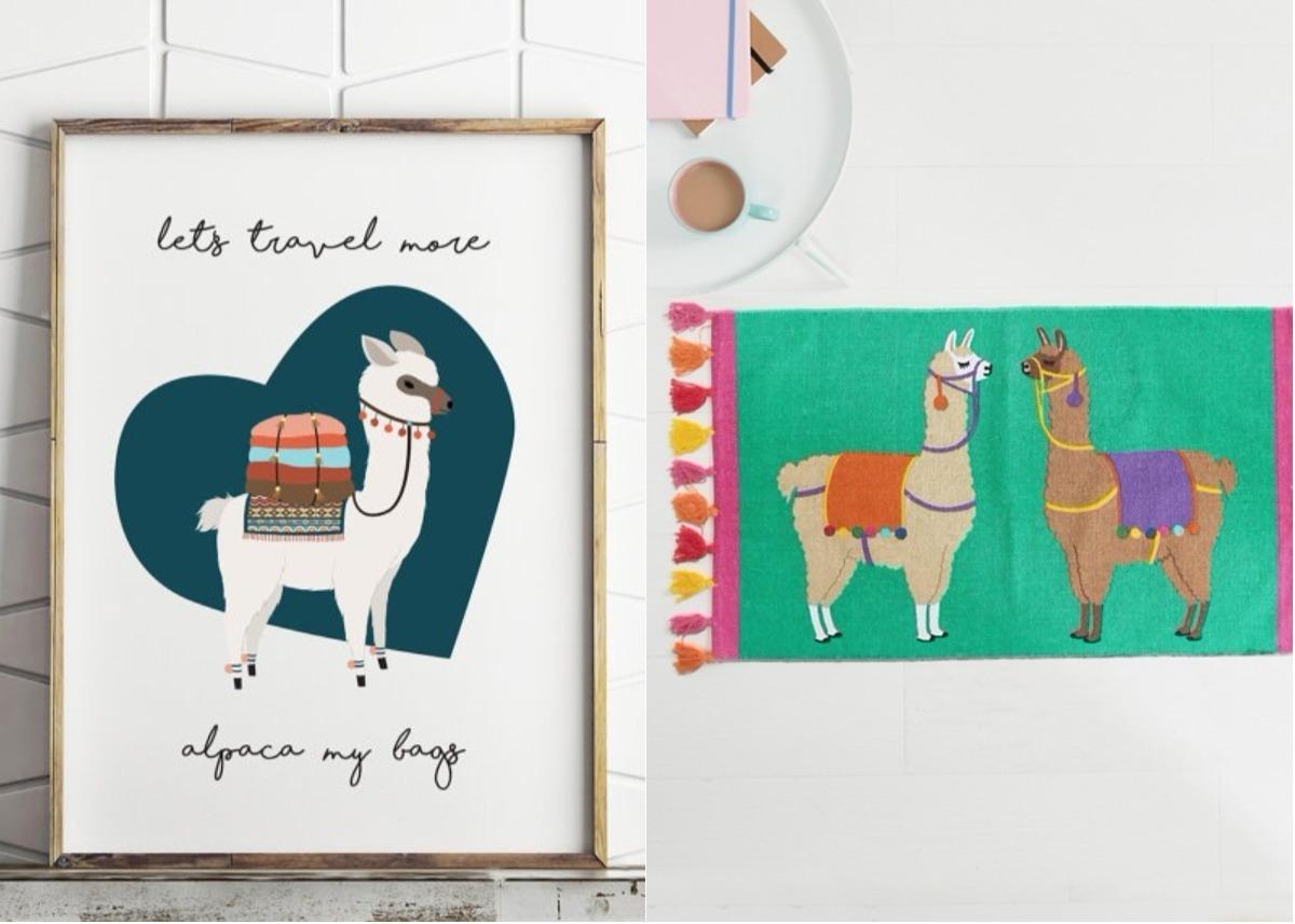 déco lama affiche scandinave tapis pompon