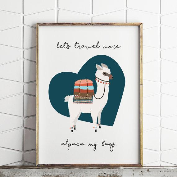 affiche lama dessin déco lama enfant bleu canard graphique