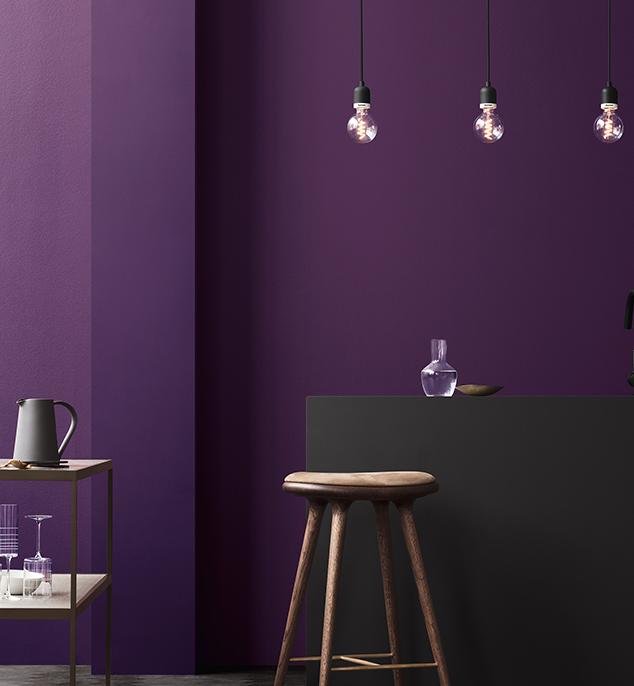 pantone 2018 ultra violet mur peinture aubergine cuisine minimaliste noire