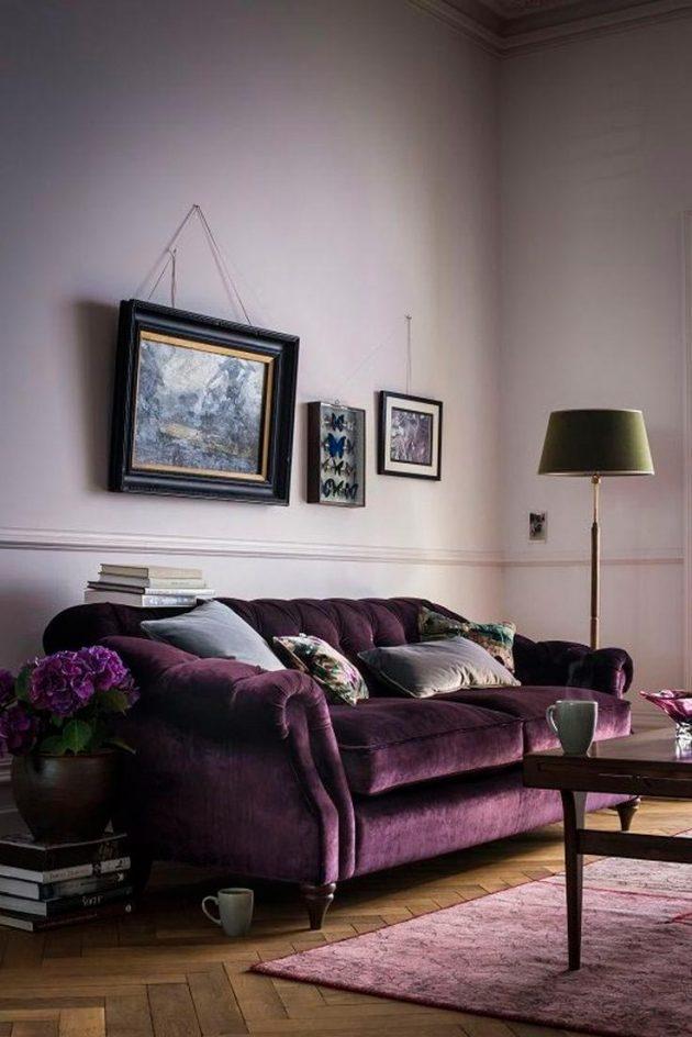 pantone 2018 ultra violet canape velours salon