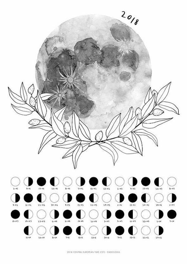 calendrier 2018 original noir et blanc aquarelle