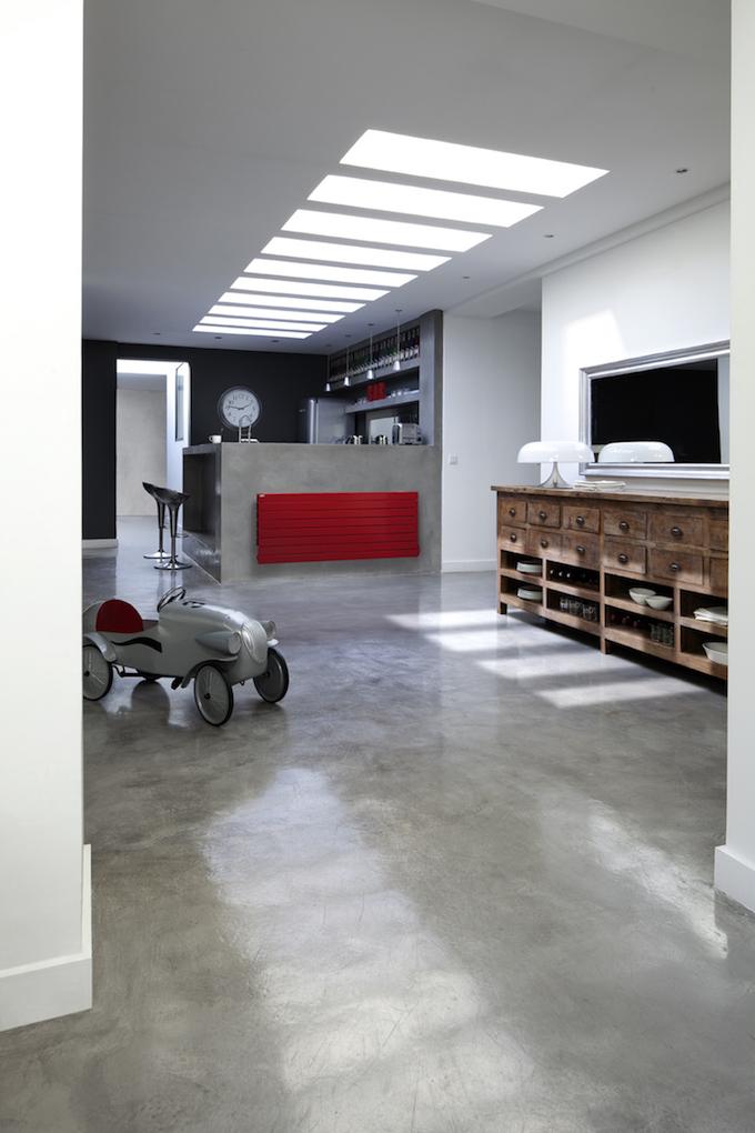 loft design radiateur rouge myacova3d beton cire