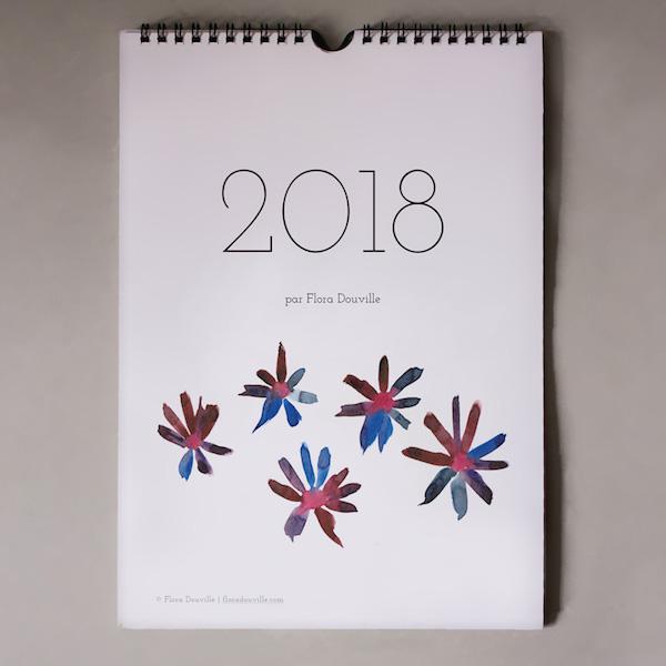 calendrier 2018 original couleurs chaude aquarelle bleu rouge
