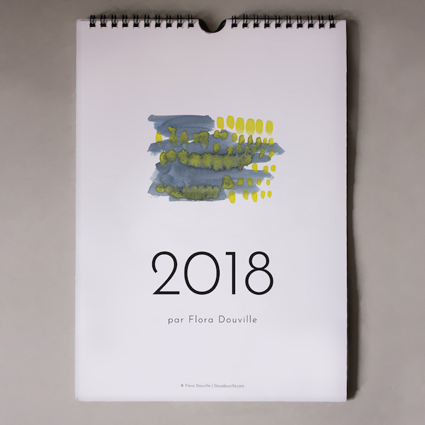 calendrier 2018 original couleurs aquarelle jaune et bleu joli simple sobre