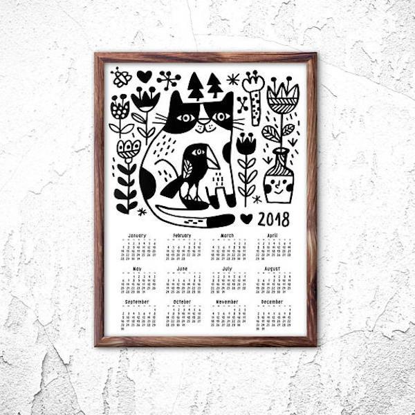 calendrier 2018 original accrocher au mur noir et blanc cadre bois joli chat animaux oiseaux fleurs