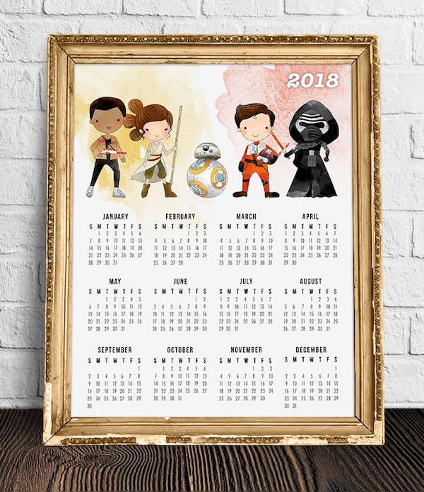 calendrier 2018 original star wars jedi anakin yoda dark vador sabre laser deco orignalite