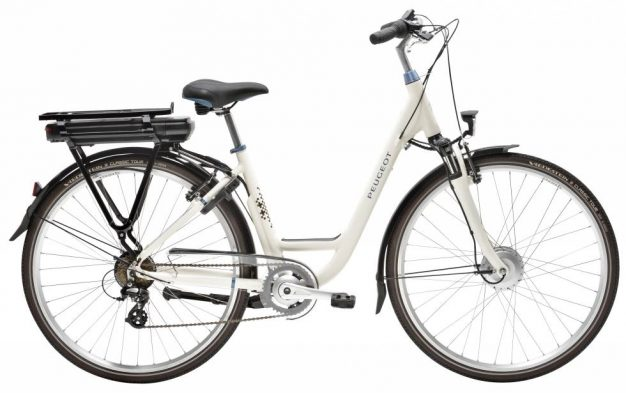 sport design velo assistance electrique peugeot look retro vintage creme