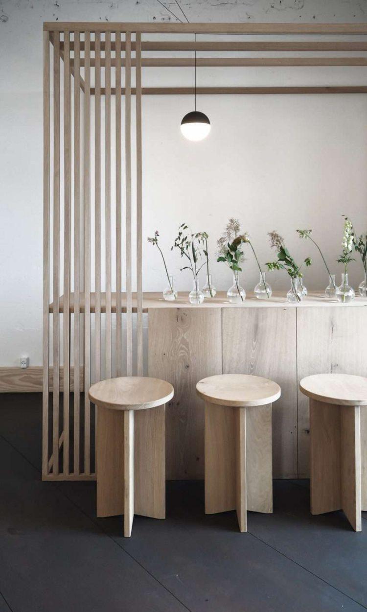 bar cuisine ouverte bois pin minimaliste brut slow living ikebana soliflore