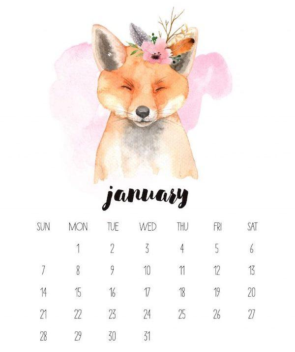 calendrier 2018 original aquarelle renard janvier couleurs pastels