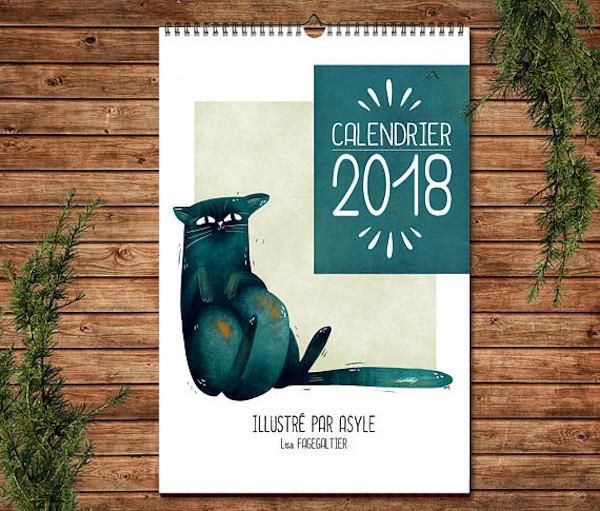 calendrier 2018 original chat bleu illustration 2018 asyle etsy couleurs douces et illustrations rigolotes