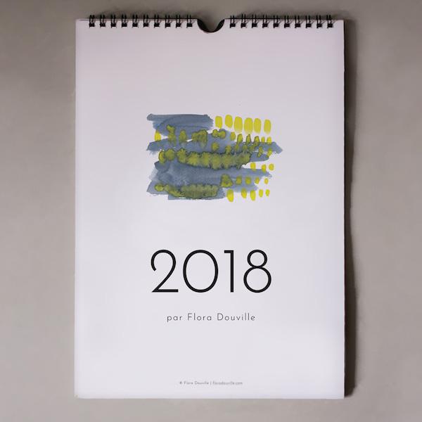 calendrier 2018 original couleurs aquarelle jaune et bleu joli simple sobre