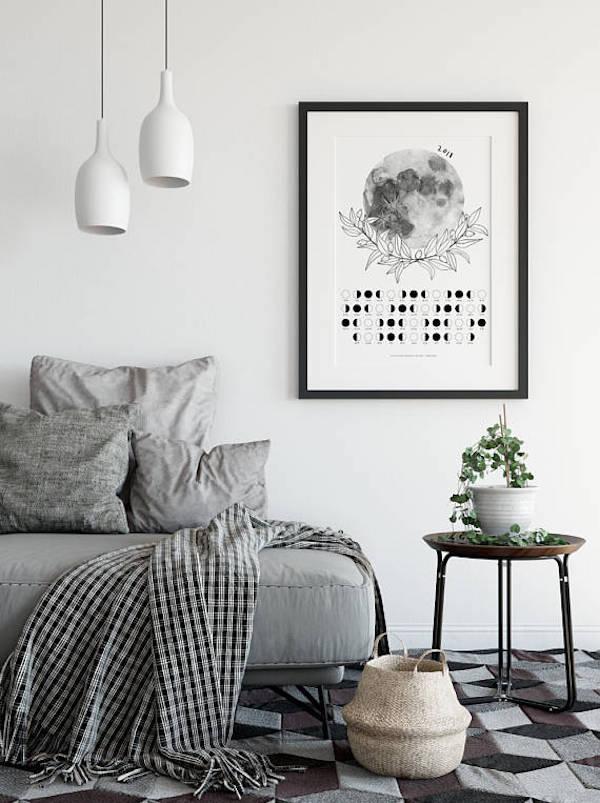 calendrier 2018 original lunaire deco salon noir et blanc canape gris