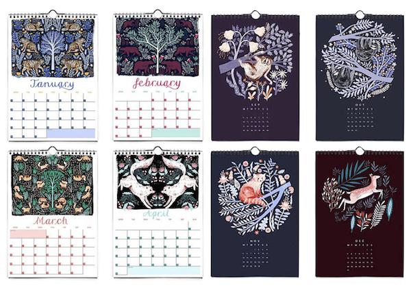 calendrier 2018 original mois couleurs tons violet prune mauve et un peu orange avec du bleu et du rose et quelques touches de vert