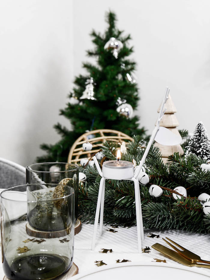 jolie table de noel nature bougeoir renne