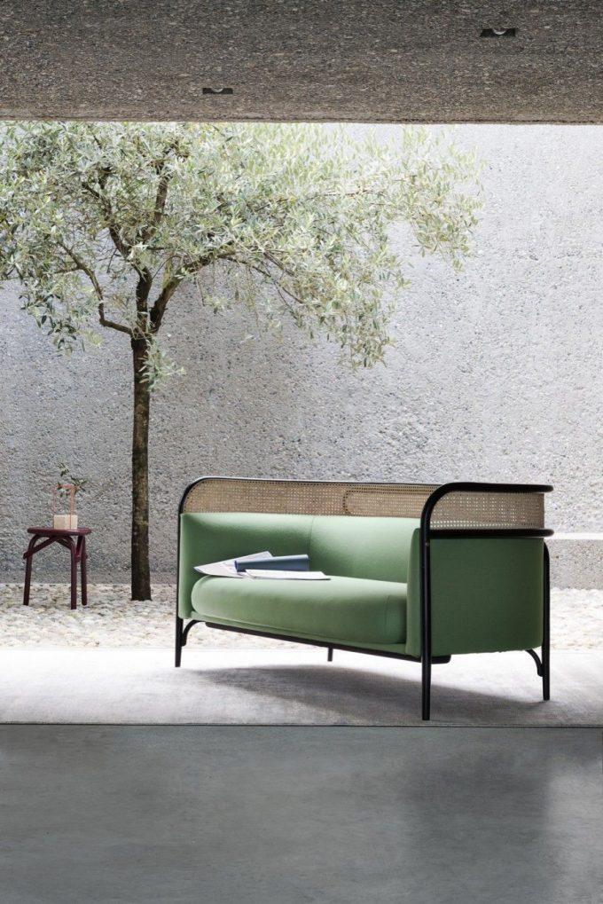 vert loft béton mur canapé cannage blog déco clemaroundthecorner.com
