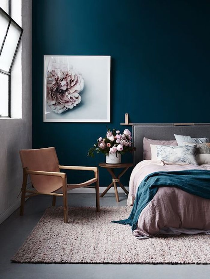 deco rose poudre blush bleu canard marron tableau tapis