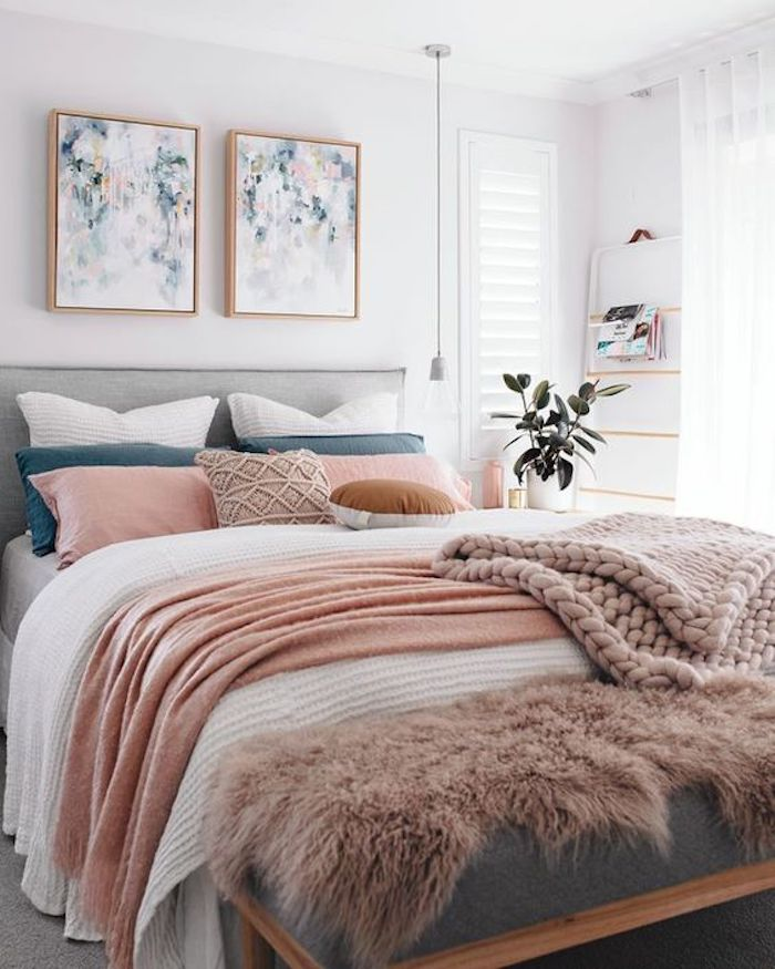 deco rose poudre gris lit chambre duo couleurs