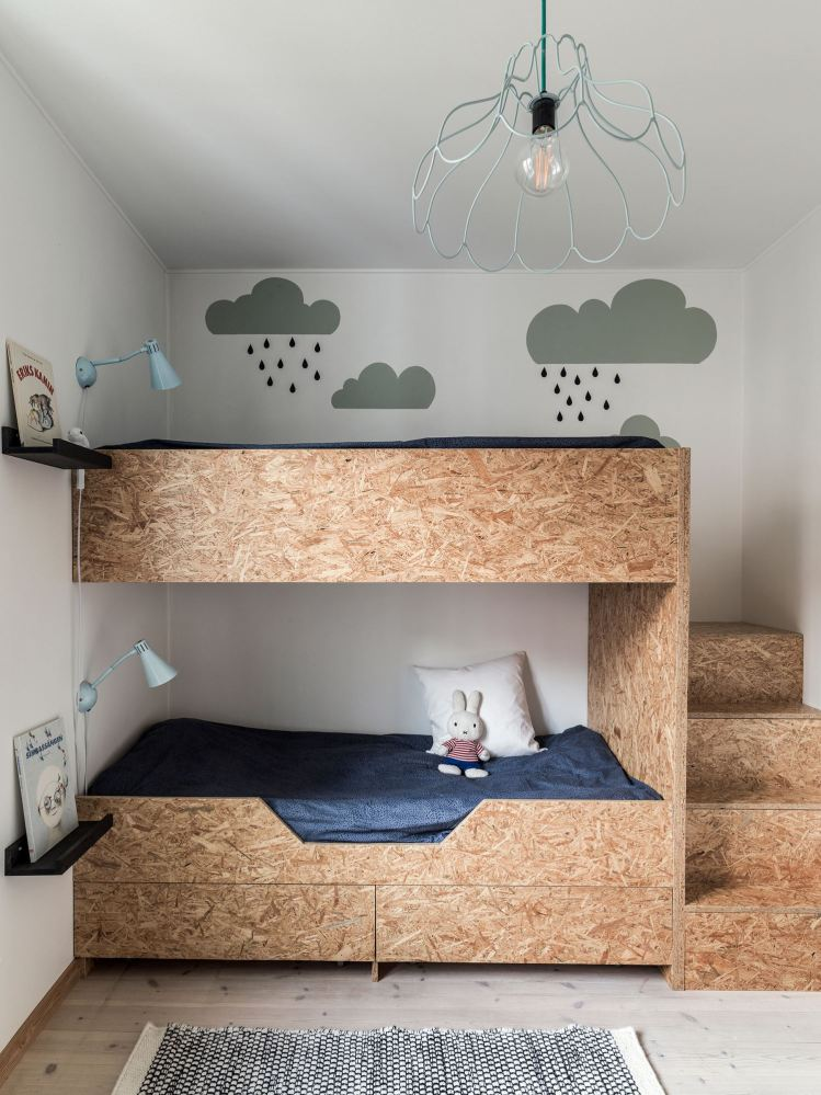 meuble osb chambre enfant lit superpose minimaliste