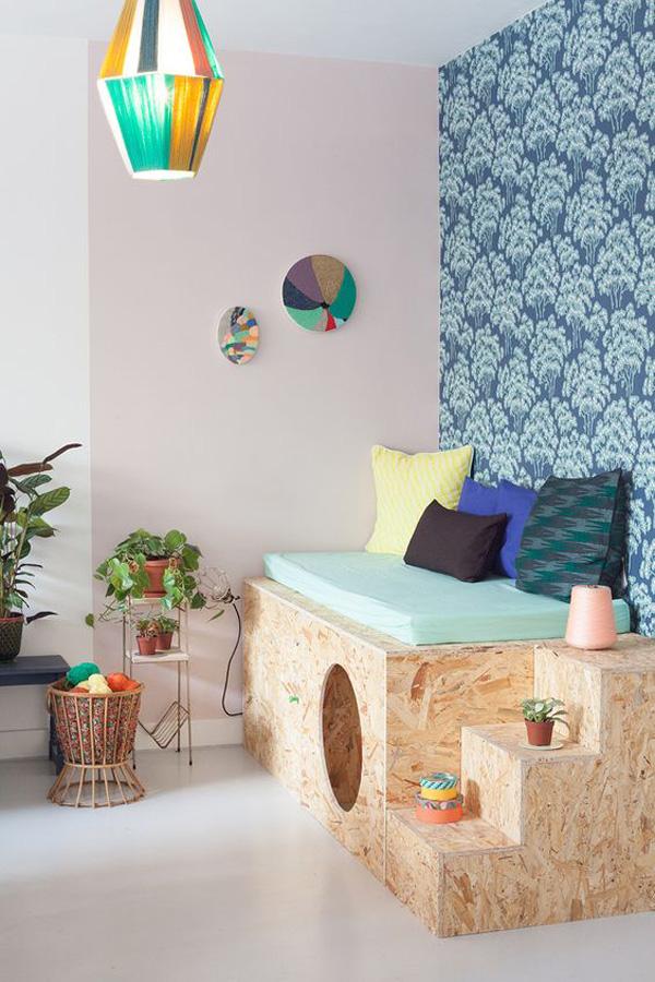 espace jeu chambre enfant couleur pastel rose mint meuble osb coin lecture