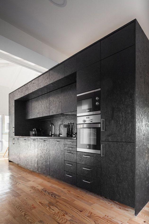 cuisine noire mat meuble osb peint diy moderne