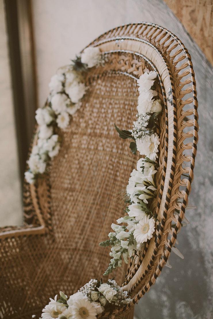 mariage diy fauteuil emmanuelle fleur osier trone rotin