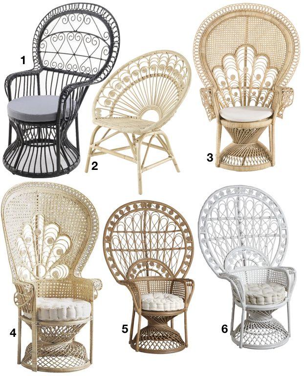 le fauteuil Emmanuelle en osier noir blanc naturel