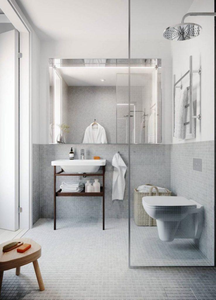 petite salle de bain moderne mosaique grise carrelage petit carre zellige