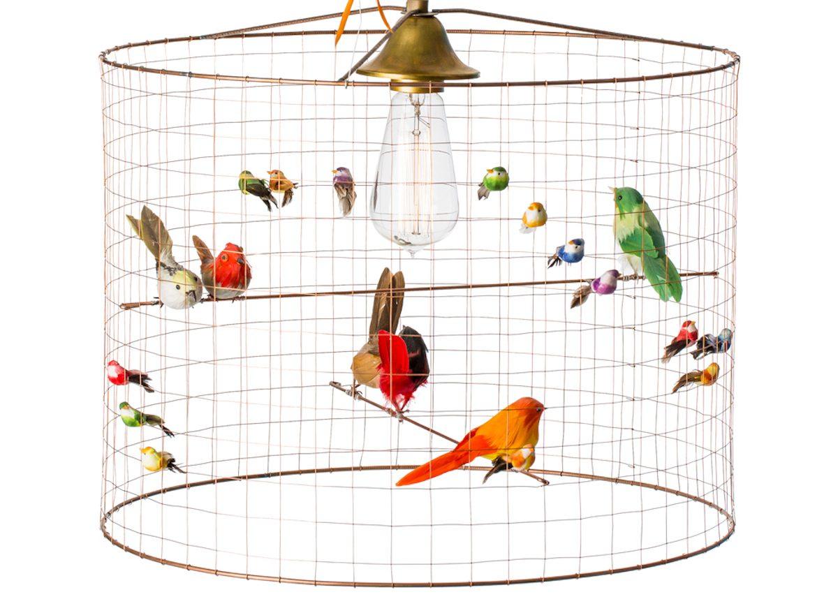 suspension lampe voliere oiseau en cage cuivre perruche