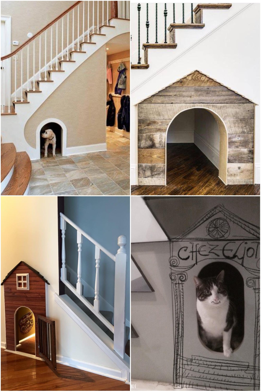 niche chien maison chat aménager un dessous d'escalier