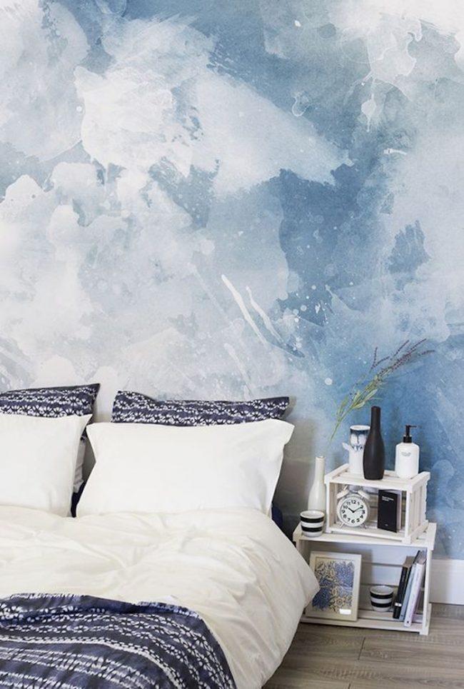 papier peint bleu aquarelle art trompe l oeil nuage