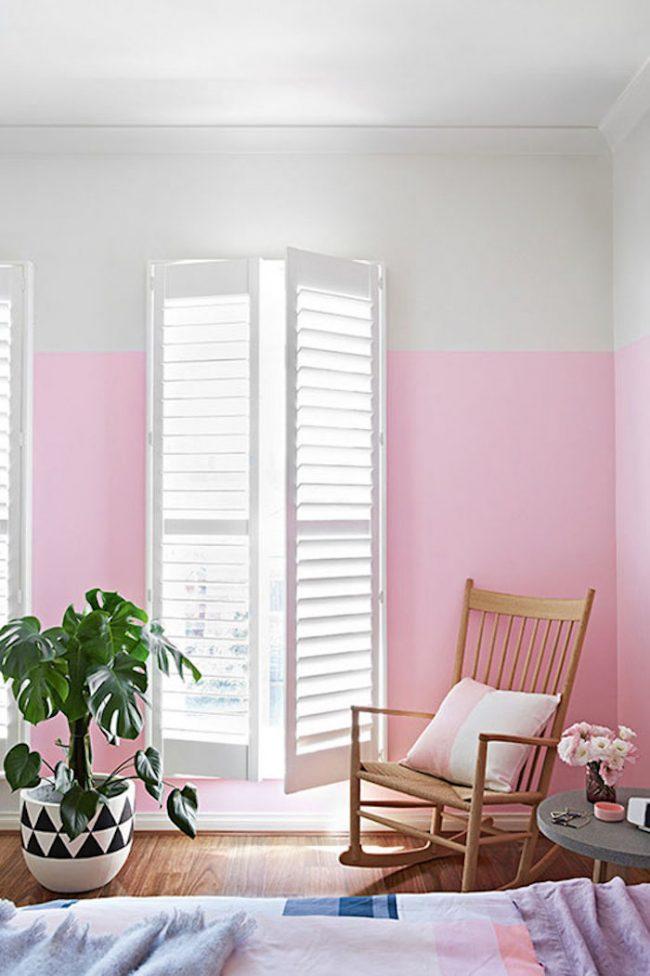 couleur de chambre rose blanc bicolor
