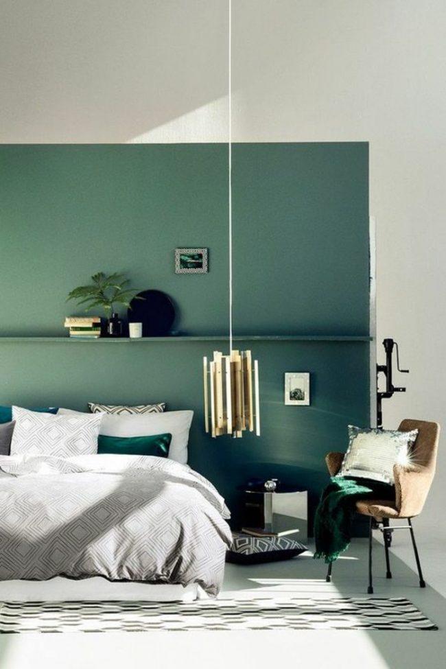 couleur de chambre mur bleu-vert turquoise original nature