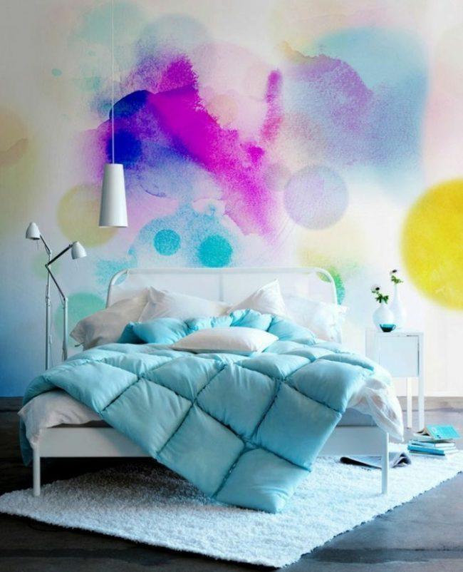 couleur de chambre multicolor aquarelle jaune violet bleu turquoise