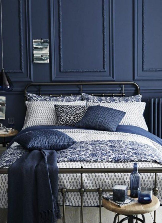 couleur de chambre bleu fonce blanc original fonce