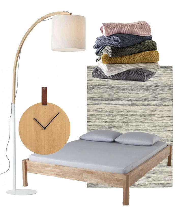 décoration intérieure chambre minimaliste japonaise lampe lampadaire horloge minimaliste lit en bois tapis berber simple plaid de couleur