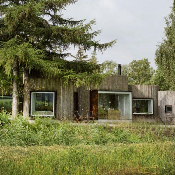 maison cylindrique exterieure cache bois rondins foret vert bois rondins vue sapin ciel