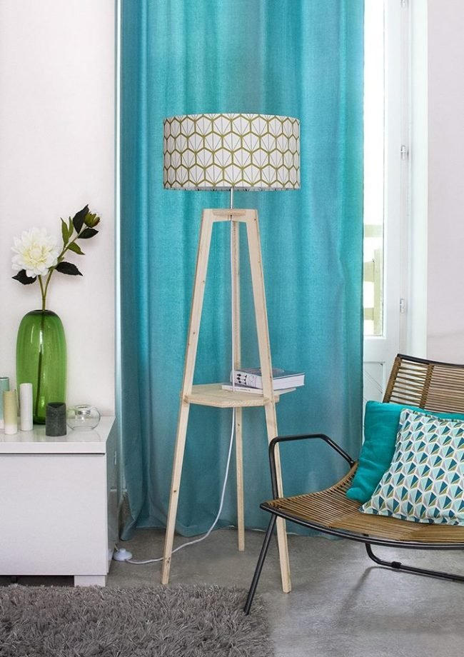 mademoiselle dimanche lampadaire tissu turquoise motif scandinave vintage