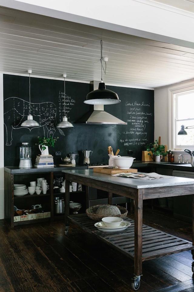 mini maison champêtre cuisine mur peinture ardoise