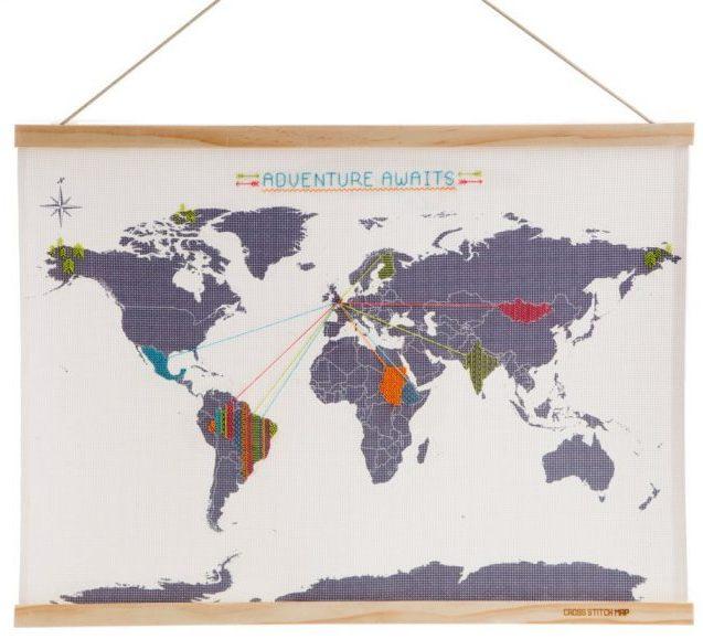 carte du monde déco point de croix diy