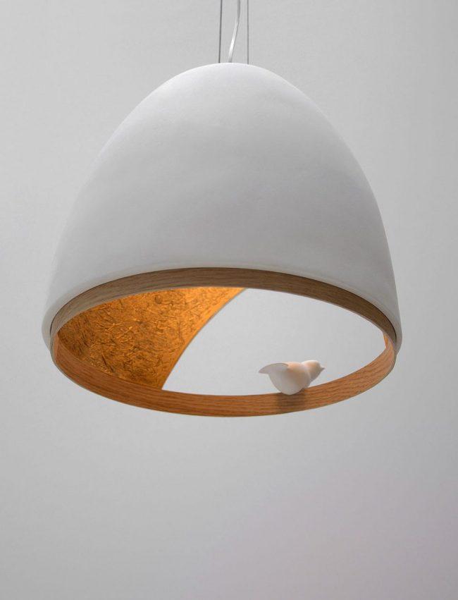 COMPAGNIE lampe oiseau platre design minimaliste suspension bois