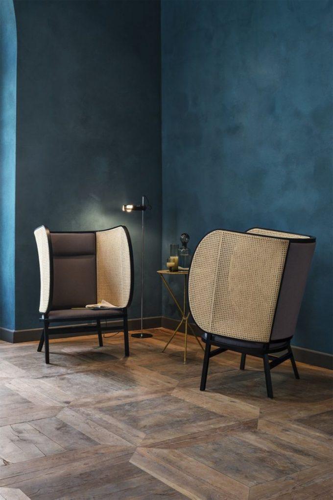 bleu canard mur fauteuil cannage blog déco clem around the corner