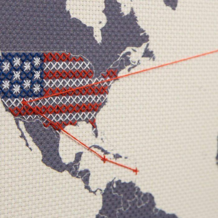 carte du monde déco point de croix diy États-Unis