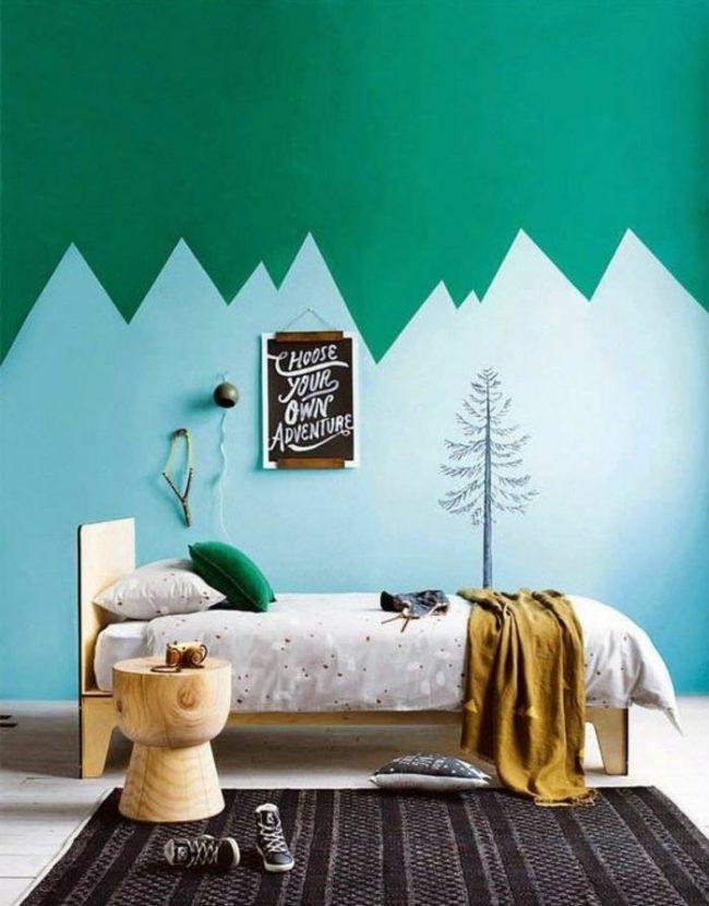 couleur de chambre dessin montagne bleu vert