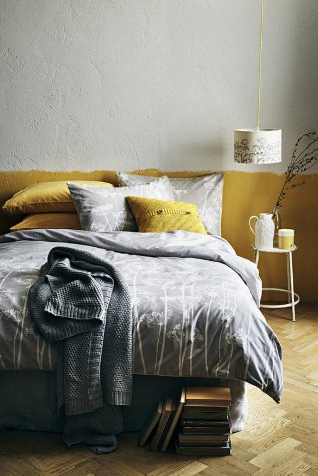 mu moutarde jaune bicolore peinture sus bassement tete de lit diy blog clem around the corner