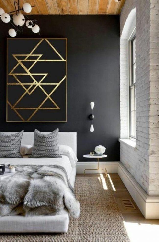 couleur de chambre mur noir or dore bois cosy