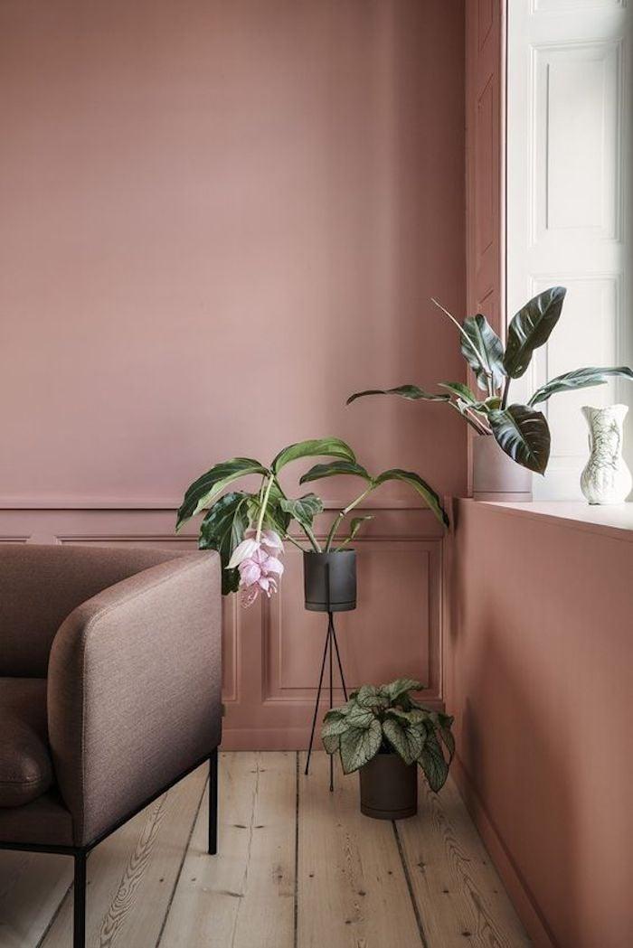 deco rose poudre mur bois parquet canape fauteuil plantes vertes fauteuil taupe