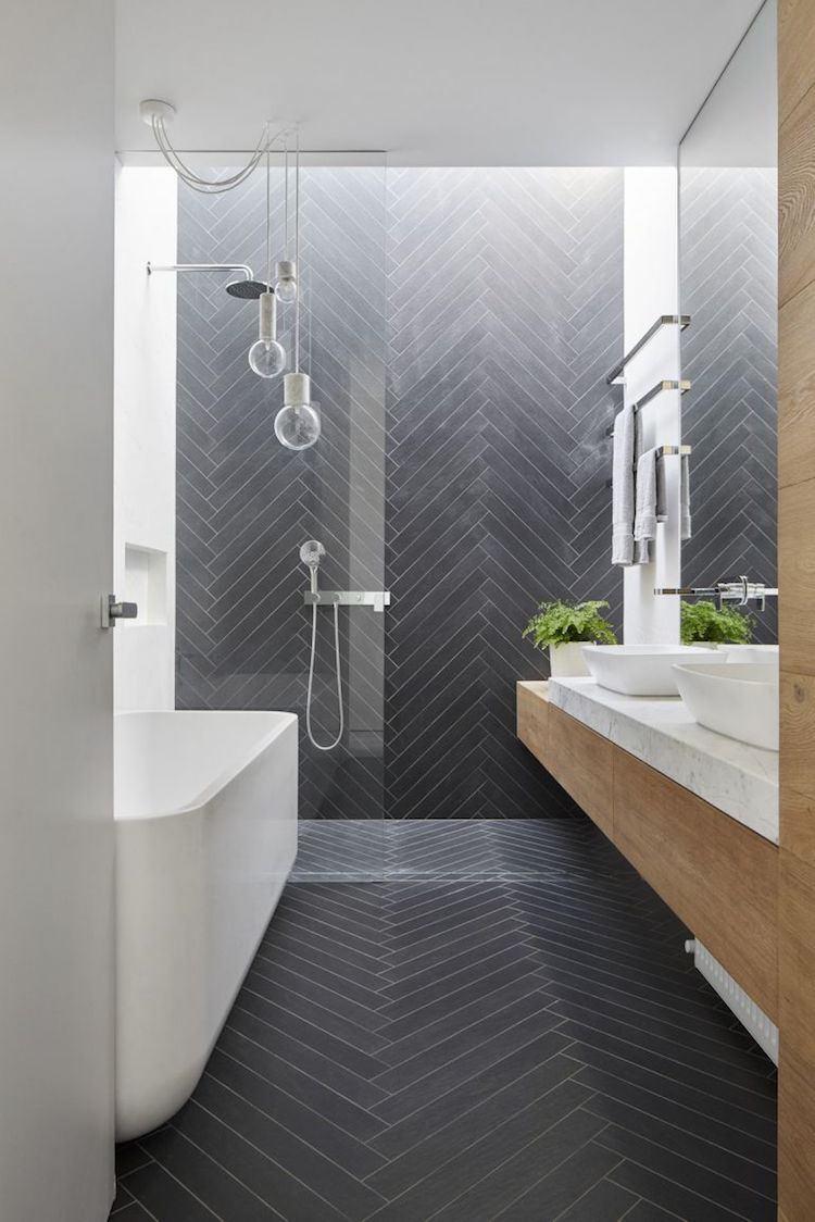 douche italienne salle de bain carrelage gris point hongrie moderne