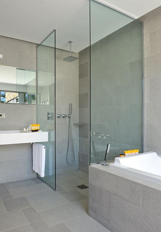 douche italienne en pierre grise parvoie verre